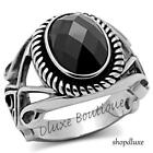 MEN'S JET BLACK OVAL CUT CZ SILVER STAINLESS STEEL GOTHIC BIKER RING SIZE 8-13