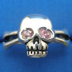 Skull & Cross Bones Ring, Natural Pink Sapphire eyes, hand crafter sterling