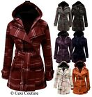 NEW LADIES BELTED BUTTON MILITARY CHECK COAT WOMENS HOODED WINTER JACKET SIZE
