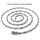 2.4mm Silver Stainless Steel Ball & Oval Bead Necklace Chain(18-27inch)