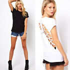 New Womens Short Sleeve Solid Hollow Out T-Shirt Backless Crew Neck Blouse Tops