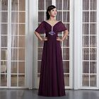 Purple Host Choir Empire Waist Bride Plus Size Deep V-neck Capped Evening Dress