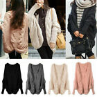 Fashion Women Cardigan sweater Large lapel Batwing sleeve Knit Pullover coat new
