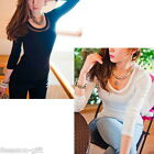2014 Sexy Women Korean Decolletage Round Neck Long Sleeve T-Shirt Tops M2390