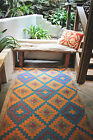 Saman- Blue and Orange  Indoor & Outdoor Rugs Mats - Many Sizes, Recycle Green