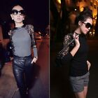 Women Knitted Lace Sweater Stitching Sleeve Slim Fit Pullover Base Shirt 2 Color