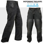 Motorbike Motorcycle Trousers Jeans Reinforced With Aramid Protection Lining BLK