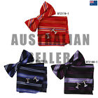 EBC1A26 Striped Working Day Presents Idea Bow Tie Cuff Hanky Set Epoint