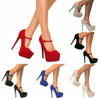 WOMENS MARY JANE PLATFORM STILETTO HIGH HEELS COURT SHOES STRAP PUMPS PROM SIZE