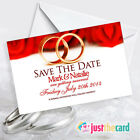 Personalised Save The Date wedding cards & envelopes  - red