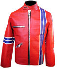 Mens Cafe Racer High Quality Leather Motorcycle Jacket / Pants Retro  Size XXL