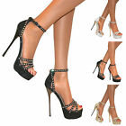 WOMENS GLITTER STRAPPY PEEP TOE PLATFORM STILETTO HIGH HEEL SHOE SIZE PARTY PROM