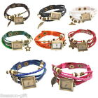 1PC Mixed Weave Wrap Beads Pendant Leather Strap Bracelet Square WristWatch