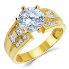 14K Solid Yellow Gold CZ Cubic Zirconia Solitaire Engagem...