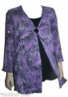 Plus Size Top Evening Asymmetrical Black Purple 3/4 Sleeves 18 20 NWT Dressy