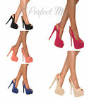 LADIES STUDDED SLINGBACK PLATFORM PEEP TOE STILETTO HIGH HEELS SHOES PARTY SIZE
