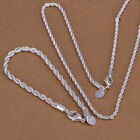 925 sterling solid silver 4mm twisted rope chain 16-24inch bracelet & neckalce