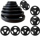 TRI GRIP RUBBER ENCASED WEIGHT PLATES 1.25-25KG DISCS EXERCISE GYM FITNESS