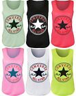 New Womens Converse Logo Print Ladies Sleeveless Racer Muscle Vest Top 8 10 14