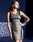 ♥ LIPSY ♥ BLACK GOLD SZ 8-16 SEQUIN PANEL MESH PARTY CLUB BODYCON LADIES DRESS