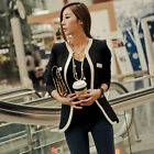 Fashion Womens White Black Colors Suit Blazer Coat Slim Jacket Outerwear New