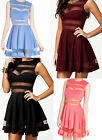 Mesh Panel Club Skater Dress shadow stripe flare slash Sexy night CLUB party