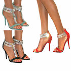 LADIES GLITTER DIAMANTE STRAPPY ANKLE SANDALS SHOES HIGH HEELS ZIP SIZE EVENING