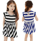 Girl Casual Summer Dresses Striped 2-7Y New Toddler Kids Clothing Princess Mini