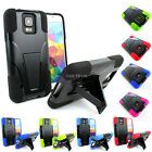 For Samsung Galaxy S5 SV Rugged Hybrid Armor Hard Soft Case Cover Y Kickstand