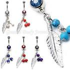 Double Gem & semi precious bead Feather dangle belly bar 14 Gauge (1.6mm x 10mm)