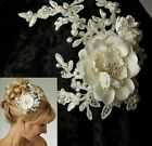 White or Ivory Satin Flower Alencon Lace Pearl Spray Brid...