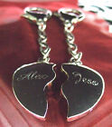 Personalised Engraved Chrome Joining / Split Heart Keyrings - Free P&P *REDUCED*