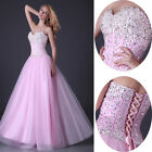 Strapless BEAD Long Formal Wedding Prom Party Bridesmaid Evening Ball Gown Dress