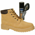 Mens New Beige Lace Up Leather Boots With Free Woly Suede Cleaner And Brush