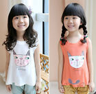 New Sweet Kids Toddlers Girls Clothing Kitty Sleeveless T-Shirts Tops Ages3-8Y
