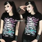 NEW Womens Skull  Punk Rock T-shirt Cool Undead Zombie Goth Tee Shirt Top ESY1