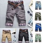 Men Slim Flat Plaid Casual Shorts Underwear Short Pants Cropped Trousers Bottoms