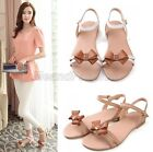 Womens Ladies Summer Genuine Leather Bow Tie Buckle Strap Sandals Shoes B58-8