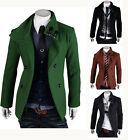 New Men's Slim Fit Double Breasted Strap Trench Casual Coat Jacket Overcoat