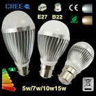NEW  B22 E27 Globe LED Bulb Light Lamp 5W 7W 10W 15W Bright Cool Warm White 240V
