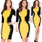 Fashion Lace Decoration Womens 3/4 Sleeve Bodycon Cocktail Party Pencil Dress