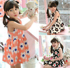 Lovely Kids Toddler Girls Clothing Dots Flowers Sleeveless Princess Dress Sz2-7Y