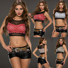 NEW WOMENS SEXY SLEEVELESS DANCE TOP CLUBBING CROP TOP MESH INSERTS 6/10 BLOUSE
