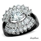 WOMEN'S ROUND CUT CZ BLACK STAINLESS STEEL WIDE BAND ENGAGEMENT RING SIZE 5-10