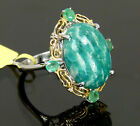 Vintage Style Genuine Amazonite & Emerald Statement Ring 14k Gold Platinum / 925