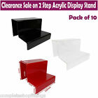 10x NEW 2 STEP ACRYLIC DISPLAY STAND RETAIL SHOP JEWELLERY TWO TIER NAIL VARNISH