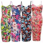 New Ladies Plus Size Floral Print Bodycon Sleeveless Summer Dress 8-14