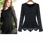 Women's Celebrity Style Lace Crochet Tops Peplum Hollow Out Tunic Blouse--Black