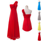 Long Chiffon One Shoulder Formal Party Bridesmaids Evening Prom Ball Gown Dress