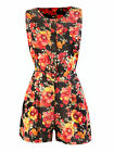 NEW LADIES FLORAL PLAYSUIT VINTAGE CASUAL RETRO SUMMER UK SIZE8 - 14  1481